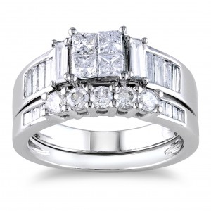 Signature Collection White Gold 1 1/2ct Princess CutTDW Diamond Bridal Ring Set - Custom Made By Yaffie™