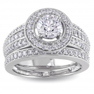 Signature Collection White Gold 1 1/2ct TDW IGL-certified Diamond Bridal Ring Set - Custom Made By Yaffie™