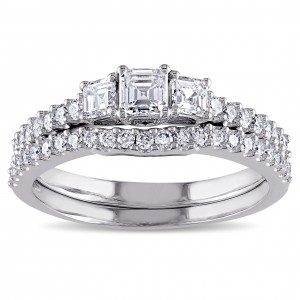 Signature Collection White Gold 1 1/5ct TDW Diamond 3-stone Bridal Ring Set - Custom Made By Yaffie™