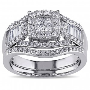 Signature Collection White Gold 1 1/5ct TDW Diamond Bridal Ring Set - Custom Made By Yaffie™