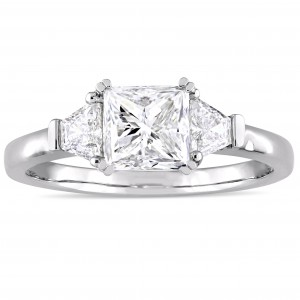 Signature Collection White Gold 1 3/4ct TDW Princess and Trapezoid Diamond Engagement Ring - Custom Made By Yaffie™