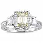 Signature Collection White Gold 1-3/4ct TDW Yellow and White Diamond 3-Stone Engagement Ring - Custom Made By Yaffie™
