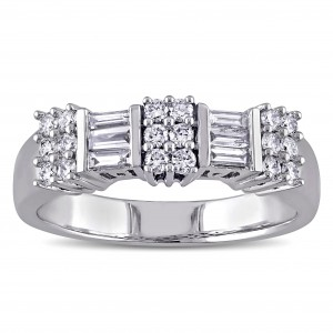 Signature Collection White Gold 1/2ct TDW Baguette-cut White Diamond Engagement Ring - Custom Made By Yaffie™