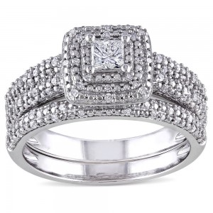 Signature Collection White Gold 1/2ct TDW Diamond Bridal Ring Set - Custom Made By Yaffie™