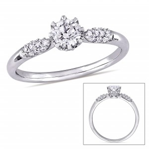 Signature Collection White Gold 1/2ct TDW Diamond Engagement Ring - Custom Made By Yaffie™