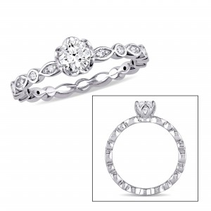 Signature Collection White Gold 1/2ct TDW Diamond Halo Infinity Engagement Ring - Custom Made By Yaffie™