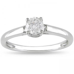 Signature Collection White Gold 1/2ct TDW Diamond Solitaire Engagement Ring - Custom Made By Yaffie™