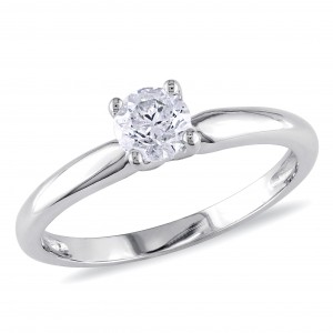 Signature Collection White Gold 1/2ct TDW Diamond Solitaire Ring - Custom Made By Yaffie™