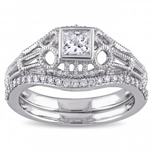 Signature Collection White Gold 1/2ct TDW Diamond Vintage Bridal Ring Set - Custom Made By Yaffie™