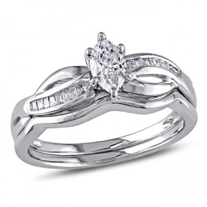 Signature Collection White Gold 1/2ct TDW Marquise Diamond Bridal Set - Custom Made By Yaffie™