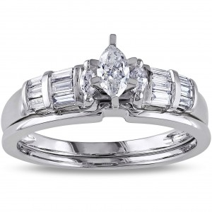 Signature Collection White Gold 1/2ct TDW Marquise-cut and Parallel Baguette Diamond Bridal Set - Custom Made By Yaffie™