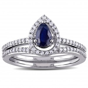 Signature Collection White Gold 1/3ct TDW Diamond and Diffused Sapphire Bridal Set - Custom Made By Yaffie™