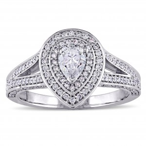 Signature Collection White Gold 1ct Pear-Cut Diamond Double Halo Split Shank Engagement Ring - Custom Made By Yaffie™