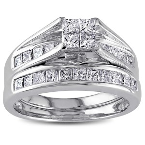 Signature Collection White Gold 1ct TDW Certified Diamond Bridal Ring Set - Custom Made By Yaffie™