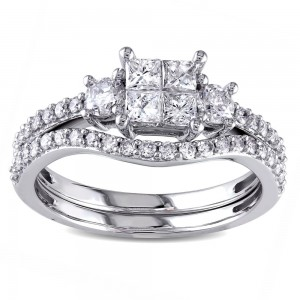 Signature Collection White Gold 1ct TDW Diamond Bridal Ring Set - Custom Made By Yaffie™