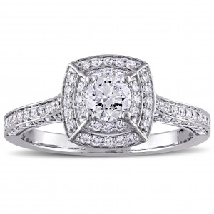 Signature Collection White Gold 1ct TDW Diamond Cluster Double Halo Engagement Ring - Custom Made By Yaffie™