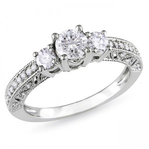 Signature Collection White Gold 1ct TDW Diamond Engagement Ring - Custom Made By Yaffie™