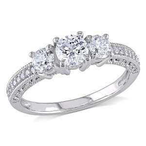 Signature Collection White Gold 1ct TDW Diamond Three Stone Ring - Custom Made By Yaffie™