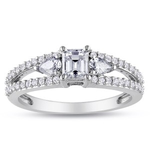 Signature Collection White Gold 1ct TDW Emerald-cut and Pear Shape Diamond Split Shank Engagement Ring - Custom Made By Yaffie™