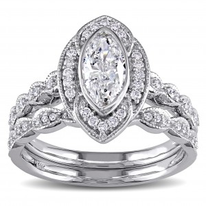 Signature Collection White Gold 1ct TDW Marquise Diamond Halo Bridal Ring Set - Custom Made By Yaffie™