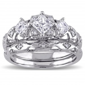 Signature Collection White Gold 1ct TDW Princess-Cut 3-Stone Vintage Bridal Ring Set - Custom Made By Yaffie™