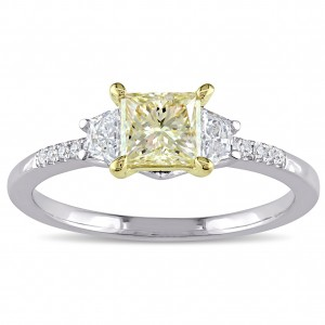 Signature Collection White Gold 1ct TDW Princess-Cut Yellow and White Diamond 3-Stone Engagement Ring - Custom Made By Yaffie™