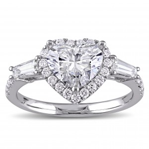Signature Collection White Gold 2 1/4ct TDW Heart and Round-Cut Diamond Engagement Ring - Custom Made By Yaffie™