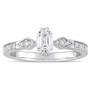 Signature Collection White Gold 3/4ct TDW Emerald and Round-Cut Diamond Engagement Ring