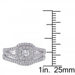 Signature Collection White Gold 3/5ct TDW Certified Diamond Halo Bridal Ring Set - Custom Made By Yaffie™