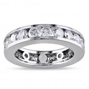 Signature Collection White Gold 3ct TDW Round-cut Diamond Eternity Ring - Custom Made By Yaffie™