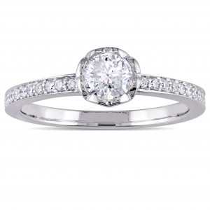 Signature Collection White Gold 5/8ct TDW Diamond Floral Engagement Ring - Custom Made By Yaffie™