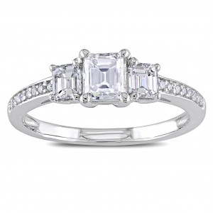 Signature Collection White Gold 7/8ct TDW Emerald-cut Diamond Ring - Custom Made By Yaffie™