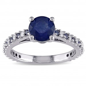 Signature Collection White Gold Blue Sapphire and 1/5ct TDW Diamond Engagement Ring - Custom Made By Yaffie™