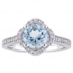 Signature Collection White Gold Blue Topaz and 1/4ct TDW Diamond Quatrefoil Halo Engagement Ring - Custom Made By Yaffie™
