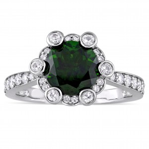 Signature Collection White Gold Chrome Diopside White Sapphire 1/2ct TDW Diamond Quad Engagement Ring - Custom Made By Yaffie™