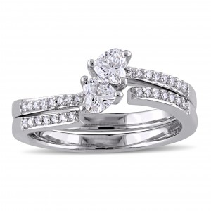 Signature Collection White Gold Heart-Cut 1/2ct TDW Diamond Bypass Two-Piece Bridal Ring Set - Custom Made By Yaffie™
