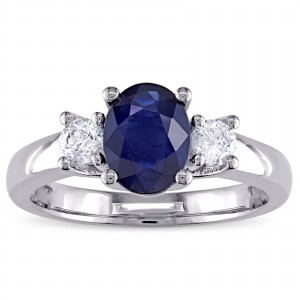 Signature Collection White Gold Oval-Shaped Blue Sapphire and 1/3ct TDW Diamond Engagement Ring - Custom Made By Yaffie™