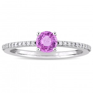 Signature Collection White Gold Pink Sapphire 1/8ct TDW Diamond Slender Engagement Ring - Custom Made By Yaffie™