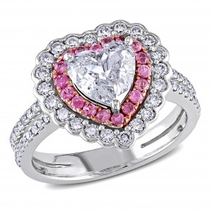 Signature Collection White Gold Pink Sapphire and 1 1/2ct TDW Diamond Ring - Custom Made By Yaffie™