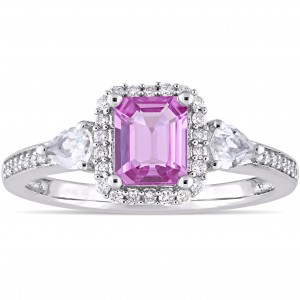 Signature Collection White Gold Pink and White Sapphire with 1/6ct TDW Diamond Halo Engagement Ring - Custom Made By Yaffie™