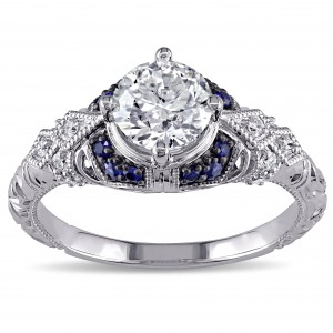 Signature Collection White Gold Sapphire and 1 1/10ct TDW Diamond Engagement Ring - Custom Made By Yaffie™