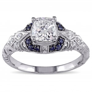 Signature Collection White Gold Sapphire and 1 1/6ct TDW Diamond Engagement Ring - Custom Made By Yaffie™