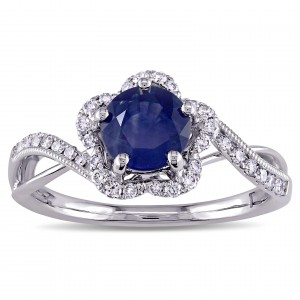 Signature Collection White Gold Sapphire and 1/4ct TDW Diamond Flower Engagement Ring - Custom Made By Yaffie™
