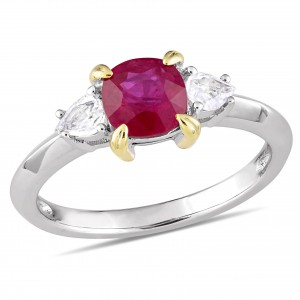 Signature Collection White Gold Gold Prong Ruby White Sapphire 3-Stone Engagement Ring - Custom Made By Yaffie™