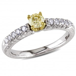 Signature Collection White Gold 1/2ct TDW Yellow and White Diamond Ring - Custom Made By Yaffie™