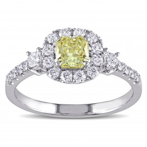 Signature Collection White Gold 1ct TDW Radiant-Cut Yellow and White Diamond Halo Engagement Ring - Custom Made By Yaffie™