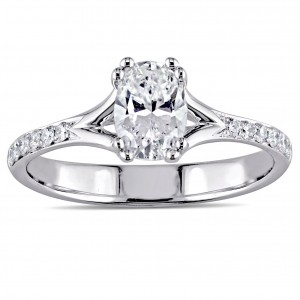 Signature Collection White Gold 9/10ct TDW Oval-Cut Diamond Split Shank Engagement Ring - Custom Made By Yaffie™