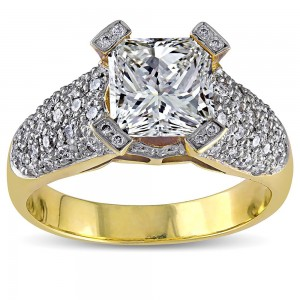 Signature Collection Gold 2 5/8ct TDW Princess Diamond Ring - Custom Made By Yaffie™