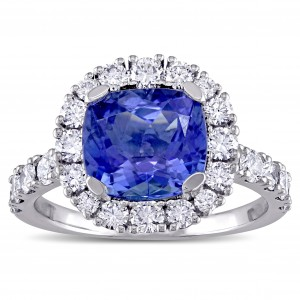 Signature Collection Cushion-Cut Tanzanite and 1ct TDW Diamond Halo Engagement Ring in White Gold - Custom Made By Yaffie™