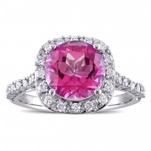 Signature Collection Pink Topaz and 1/4ct TDW Diamond Halo Engagement Ring in White Gold - Custom Made By Yaffie™